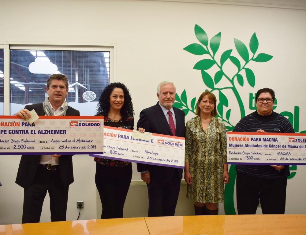 Donación de Grupo Soledad a tres ONG de Aspe
