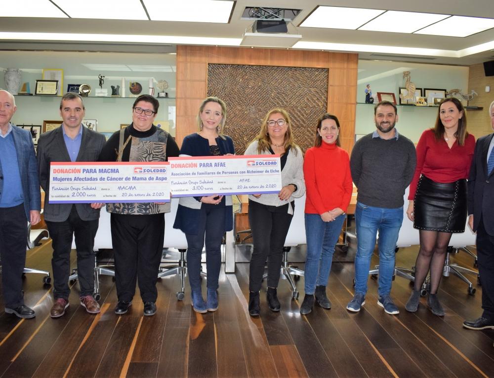Grupo Soledad dona 5.100 euros a entidades sociales de Elche y Aspe